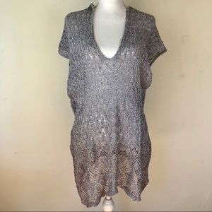 Anthropologie loose weave hooded tunic top